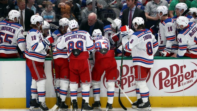 DALLAS, TEXAS - MARCH 10: Assistant coach Lindy Ruff of the New York Rangers talks with his team against the Dallas Stars during the third period at American Airlines Center on March 10, 2020 in Dallas, Texas.
