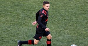 HARRISON, NEW JERSEY - MARCH 01: Marc Rzatkowski #90 of New York Red Bulls takes the ball in the second half against the FC Cincinnati at Red Bull Arena on March 01, 2020 in Harrison, New Jersey.