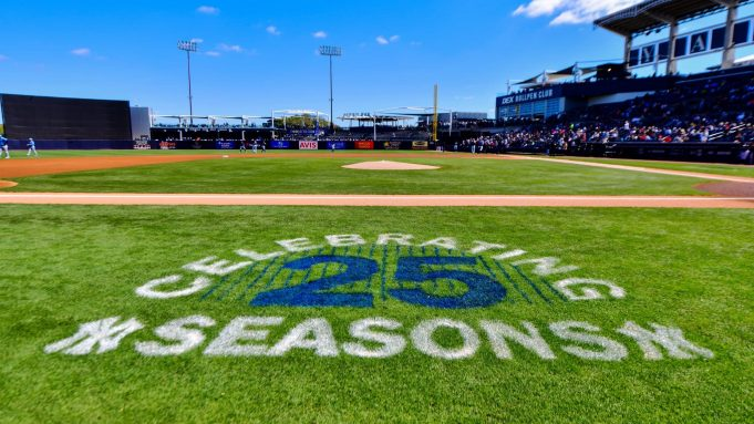 TAMPA, FLORIDA - FEBRUARY 27: A detail of the 25-season graphic on Steinbrenner Field prior to a Grapefruit league spring training game between the New York Yankees and the Tampa Bay Rays on February 27, 2020 in Tampa, Florida.