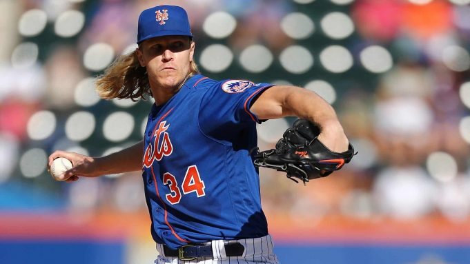 NEW YORK, NEW YORK - SEPTEMBER 29: Noah Syndergaard #34 of the New York Mets pitches in the first inning against the Atlanta Bravesat Citi Field on September 29, 2019 in New York City.