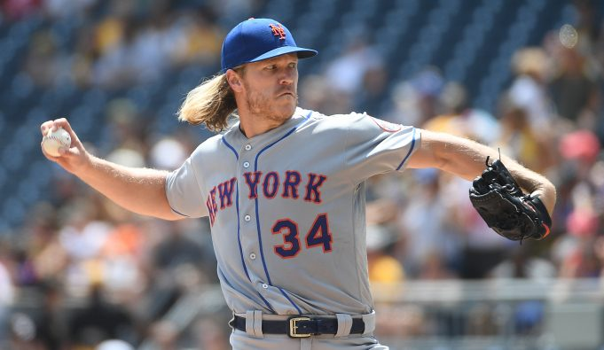 PITTSBURGH, PA - AUGUST 04: Noah Syndergaard #34 of the New York Mets delivers a pitch in the first inning during the game against the Pittsburgh Pirates at PNC Park on August 4, 2019 in Pittsburgh, Pennsylvania.