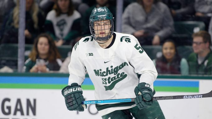 Michigan State's Patrick Khodorenko scored a hat trick in the Spartans' win over Penn State on Friday.
