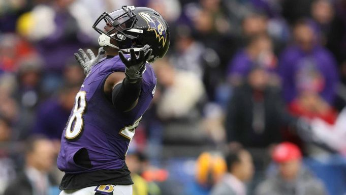 BALTIMORE, MARYLAND - NOVEMBER 17: Inside linebacker Patrick Onwuasor #48 of the Baltimore Ravens reacts after a sack against the Houston Texans during the second quarter at M&T Bank Stadium on November 17, 2019 in Baltimore, Maryland.