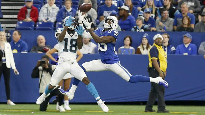INDIANAPOLIS, INDIANA - DECEMBER 22: Pierre Desir #35 of the Indianapolis Colts intercepts the ball in the game against the Carolina Panthers during the fourth quarter at Lucas Oil Stadium on December 22, 2019 in Indianapolis, Indiana.
