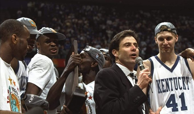 Kentucky Wildcats head coach Rick Pitino talks with his team after a game against the Syracuse Orangemen at the Meadowlands in East Rutherford, New Jersey. Kentucky won the game, 76-67.