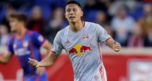 HARRISON, NEW JERSEY - APRIL 27: Sean Davis #27 of New York Red Bulls reacts in the first half against the FC Cincinnati at Red Bull Arena on April 27, 2019 in Harrison, New Jersey.