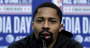 CHICAGO, ILLINOIS - FEBRUARY 15: Spencer Dinwiddie of the Brooklyn Nets speaks to the media during 2020 NBA All-Star - Practice & Media Day at Wintrust Arena on February 15, 2020 in Chicago, Illinois. NOTE TO USER: User expressly acknowledges and agrees that, by downloading and or using this photograph, User is consenting to the terms and conditions of the Getty Images License Agreement.