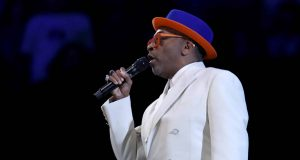 CHARLOTTE, NORTH CAROLINA - FEBRUARY 17: Filmmaker Spike Lee speaks at halftime during the NBA All-Star game as part of the 2019 NBA All-Star Weekend at Spectrum Center on February 17, 2019 in Charlotte, North Carolina. NOTE TO USER: User expressly acknowledges and agrees that, by downloading and/or using this photograph, user is consenting to the terms and conditions of the Getty Images License Agreement.