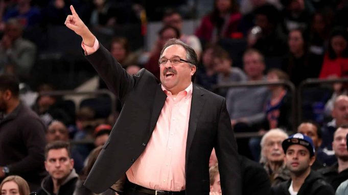 NEW YORK, NY - MARCH 31: Stan Van Gundy of the Detroit Pistons reacts in the third quarter against the New York Knicks during their game at Madison Square Garden on March 31, 2018 in New York City. NOTE TO USER: User expressly acknowledges and agrees that, by downloading and or using this photograph, User is consenting to the terms and conditions of the Getty Images License Agreement.
