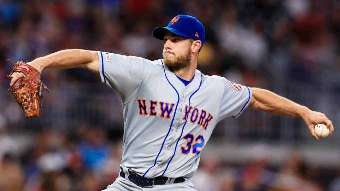 ATLANTA, GA - AUGUST 14: Steven Matz #32 of the New York Mets pitches in the first inning during the game against the Atlanta Braves at SunTrust Park on August 14, 2019 in Atlanta, Georgia.