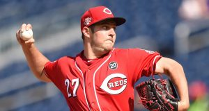 WASHINGTON, DC - AUGUST 14: Trevor Bauer #27 of the Cincinnati Reds pitches in the first inning during a baseball game against the Washington Nationals at Nationals Park on August 14, 2019 in Washington, DC.