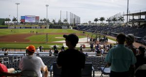 WEST PALM BEACH, FLORIDA - MARCH 12: Fans looks on during batting practice prior to a Grapefruit League spring training game between the Washington Nationals and the New York Yankees at FITTEAM Ballpark of The Palm Beaches on March 12, 2020 in West Palm Beach, Florida. Many professional and college sports are canceling or postponing their games due to the ongoing threat of the Coronavirus (COVID-19) outbreak.