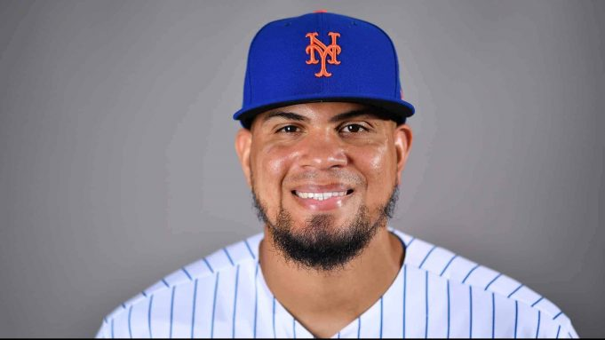 PORT ST. LUCIE, FLORIDA - FEBRUARY 20: Dellin Betances #68 of the New York Mets poses for a photo during Photo Day at Clover Park on February 20, 2020 in Port St. Lucie, Florida.