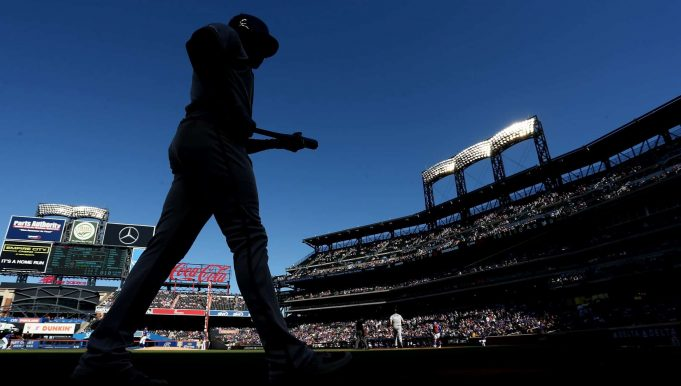 NEW YORK, NEW YORK - SEPTEMBER 29: Freddie Freeman #5 of the Atlanta Braves walks up tp the on-deck circle prior to his at bat against the New York Mets at Citi Field on September 29, 2019 in New York City.