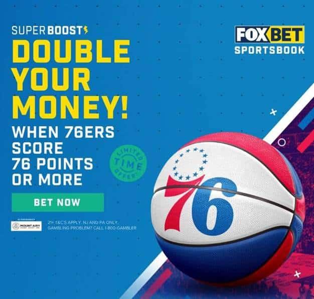 fox bet sixers double your money