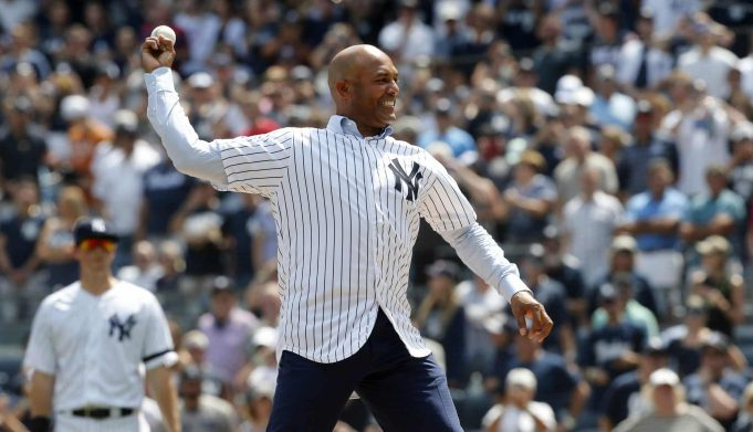 NEW YORK, NEW YORK - AUGUST 17: 2019 National Baseball Hall of Fame inductee and former New York Yankee Mariano Rivera throws the ceremonial first pitch before a game between the Yankees and the Cleveland Indians at Yankee Stadium on August 17, 2019 in New York City.