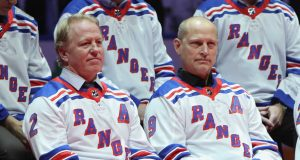 NEW YORK, NEW YORK - FEBRUARY 08: (l-r) Brian Leetch and Adam Graves of the New York Rangers Stanley Cup winning team of 1994 attend a ceremony prior to the Rangers game against the Carolina Hurricanes at Madison Square Garden on February 08, 2019 in New York City. The Rangers were celebrating the 25th anniversary of their Stanley Cup win in 1994.