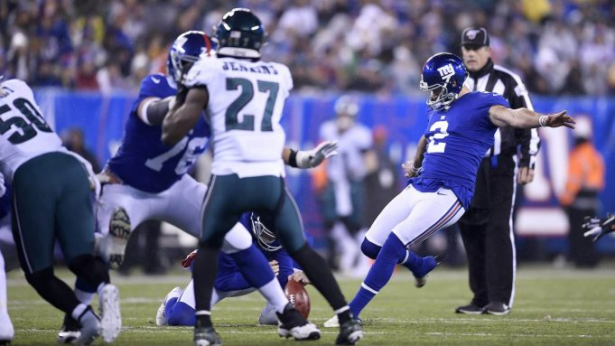 EAST RUTHERFORD, NEW JERSEY - DECEMBER 29: Aldrick Rosas #2 of the New York Giants kicks a field goal against the Philadelphia Eagles during the second quarter in the game at MetLife Stadium on December 29, 2019 in East Rutherford, New Jersey.