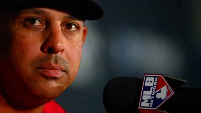 LONDON, ENGLAND - JUNE 28: Boston Red Sox manager Alex Cora speaks with members of the media during a press conference ahead of the MLB London Series games between Boston Red Sox and New York Yankees at London Stadium on June 28, 2019 in London, England.