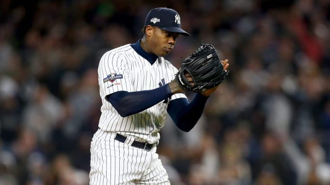 NEW YORK, NEW YORK - OCTOBER 18: Aroldis Chapman #54 of the New York Yankees looks on against the Houston Astros during the ninth inning in game five of the American League Championship Series at Yankee Stadium on October 18, 2019 in New York City.