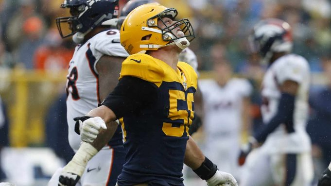 GREEN BAY, WISCONSIN - SEPTEMBER 22: Blake Martinez #50 of the Green Bay Packers reacts after tackling Phillip Lindsay #30 of the Denver Broncos during the second half at Lambeau Field on September 22, 2019 in Green Bay, Wisconsin.