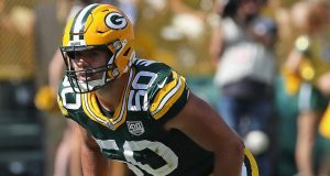 GREEN BAY, WI - SEPTEMBER 16: Blake Martinez #50 of the Green Bay Packers awaits the snap against the Minnesota Vikings at Lambeau Field on September 16, 2018 in Green Bay, Wisconsin. The Vikings and the Packers tied 29-29 after overtime.