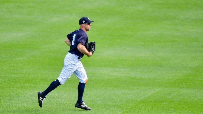 TAMPA, FLORIDA - FEBRUARY 27: Brett Gardner #11 of the New York Yankees runs back to the dugout during the middle of the sixth inning of a Grapefruit league spring training game against the Tampa Bay Rays at Steinbrenner Field on February 27, 2020 in Tampa, Florida.