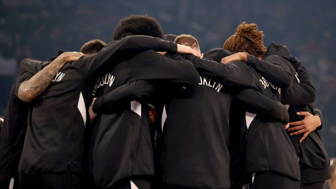 NEW YORK, NEW YORK - JANUARY 26: The Brooklyn Nets huddle before the opening tipoff against the New York Knicks at Madison Square Garden on January 26, 2020 in New York City.NOTE TO USER: User expressly acknowledges and agrees that, by downloading and or using this photograph, User is consenting to the terms and conditions of the Getty Images License Agreement.
