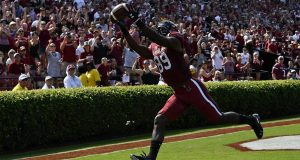 COLUMBIA, SC - OCTOBER 06: Wide receiver Bryan Edwards #89 of the South Carolina Gamecocks makes a touchdown reception against the Missouri Tigers during the first quarter of the football game at Williams-Brice Stadium on October 6, 2018 in Columbia, South Carolina.