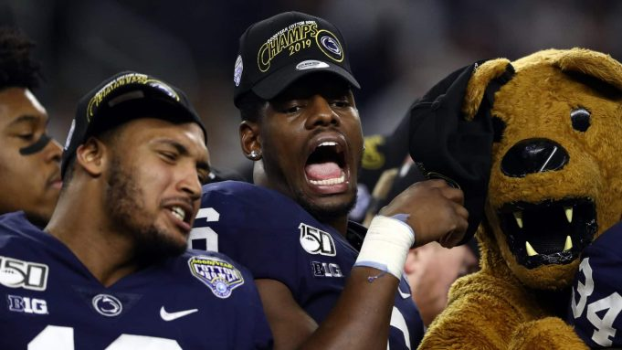 ARLINGTON, TEXAS - DECEMBER 28: Cam Brown #6 of the Penn State Nittany Lions celebrates after a 53-39 win in the Goodyear Cotton Bowl Classic against the Memphis Tigers at AT&T Stadium on December 28, 2019 in Arlington, Texas.