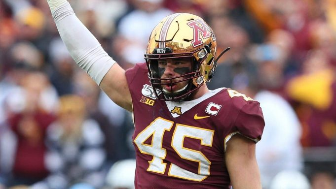 MINNEAPOLIS, MN - NOVEMBER 09: Carter Coughlin #45 of the Minnesota Golden Gophers celebrates a sack in the. fourth quarter against the Penn State Nittany Lions at TCFBank Stadium on November 9, 2019 in Minneapolis, Minnesota. The Minnesota Golden Gophers defeated the Penn State Nittany Lions 31-26 to remain undefeated.