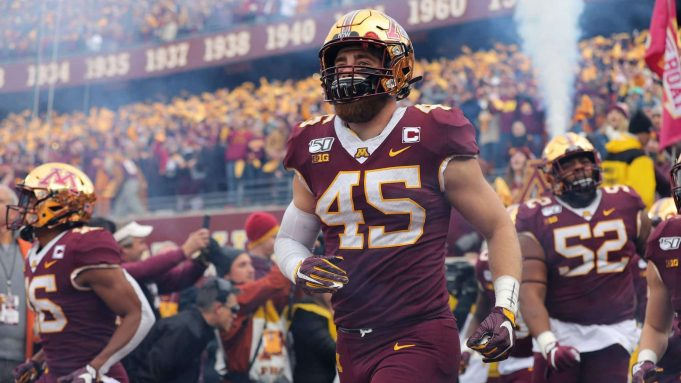 MINNEAPOLIS, MN - NOVEMBER 09: Carter Coughlin #45 of the Minnesota Golden Gophers takes the field against the Penn State Nittany Lions at TCFBank Stadium on November 9, 2019 in Minneapolis, Minnesota.