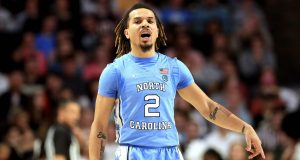 WINSTON-SALEM, NORTH CAROLINA - FEBRUARY 11: Cole Anthony #2 of the North Carolina Tar Heels reacts after a play against the Wake Forest Demon Deacons during their game at LJVM Coliseum Complex on February 11, 2020 in Winston-Salem, North Carolina.