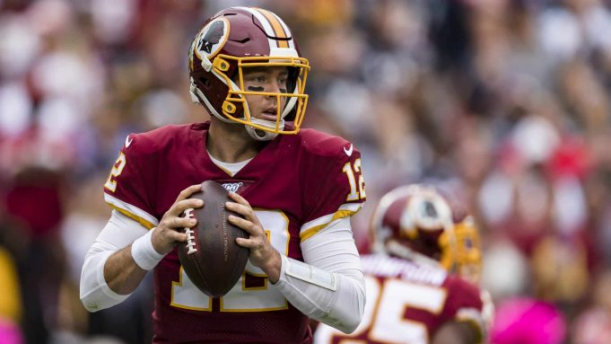 LANDOVER, MD - OCTOBER 06: Colt McCoy #12 of the Washington Redskins looks to pass against the New England Patriots during the first half at FedExField on October 6, 2019 in Landover, Maryland.
