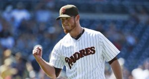 SAN DIEGO, CA - AUGUST 19: Craig Kimbrel #46 of the San Diego Padres pumps his fist after a 3-2 win over the Atlanta Braves in a baseball game at Petco Park August 19, 2015 in San Diego, California.