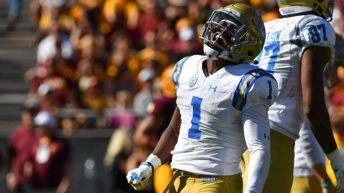 TEMPE, AZ - NOVEMBER 10: Defensive back Darnay Holmes #1 of the UCLA Bruins celebrates after returing an interception for a 31 yard touchdown in the first half against the Arizona State Sun Devils at Sun Devil Stadium on November 10, 2018 in Tempe, Arizona.