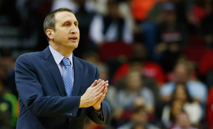 HOUSTON, TX - JANUARY 15: Head coach David Blatt of the Cleveland Cavaliers watches the play on the court during their game against the Houston Rockets at the Toyota Center on January 15, 2016 in Houston, Texas.