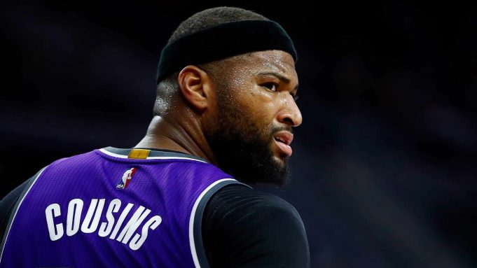 AUBURN HILLS, MI - JANUARY 23: DeMarcus Cousins #15 of the Sacramento Kings looks on while playing the Detroit Pistons at the Palace of Auburn Hills on January 23, 2017 in Auburn Hills, Michigan. Sacramento won the game 109-104. NOTE TO USER: User expressly acknowledges and agrees that, by downloading and or using this photograph, User is consenting to the terms and conditions of the Getty Images License Agreement.