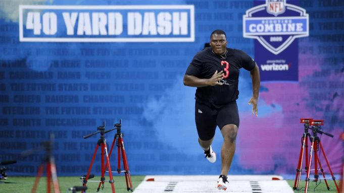 INDIANAPOLIS, IN - FEBRUARY 29: Defensive lineman Derrick Brown of Auburn runs the 40-yard dash during the NFL Combine at Lucas Oil Stadium on February 29, 2020 in Indianapolis, Indiana.