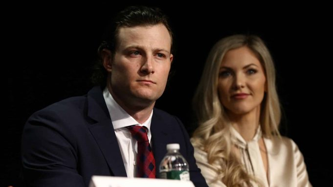 NEW YORK, NEW YORK - DECEMBER 18: Gerrit Cole and his wife Amy Cole looks on during a press conference at Yankee Stadium during a press conference at Yankee Stadium on December 18, 2019 in New York City.