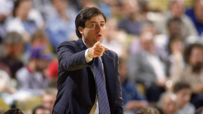 NEW YORK - 1987: Head coach Rick Pitino of the New York Knicks points his finger during an NBA game against the Los Angeles Lakers at the Great Western Forum in Los Angeles, California in 1987.