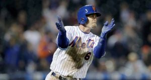 NEW YORK, NEW YORK - APRIL 30: Jeff McNeil #6 of the New York Mets celebrates his single in the 10th inning against the Cincinnati Reds at Citi Field on April 30, 2019 in Flushing neighborhood of the Queens borough of New York City.The New York Mets defeated the Cincinnati Reds 4-3 in 10 innings.