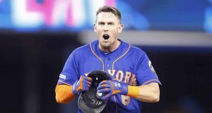 MIAMI, FLORIDA - JULY 13: Jeff McNeil #6 of the New York Mets reacts after being thrown out in the seventh inning against the Miami Marlins at Marlins Park on July 13, 2019 in Miami, Florida.