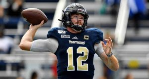 MIAMI, FLORIDA - NOVEMBER 02: James Morgan #12 of the FIU Golden Panthers looks to pass against the Old Dominion Monarchs in the first half at Ricardo Silva Stadium on November 02, 2019 in Miami, Florida. New York Jets