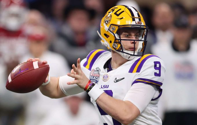 ATLANTA, GEORGIA - DECEMBER 28: Joe Burrow #9 of the LSU Tigers plays against the Oklahoma Sooners during the College Football Playoff Semifinal in the Chick-fil-A Peach Bowl at Mercedes-Benz Stadium on December 28, 2019 in Atlanta, Georgia. NFL Draft