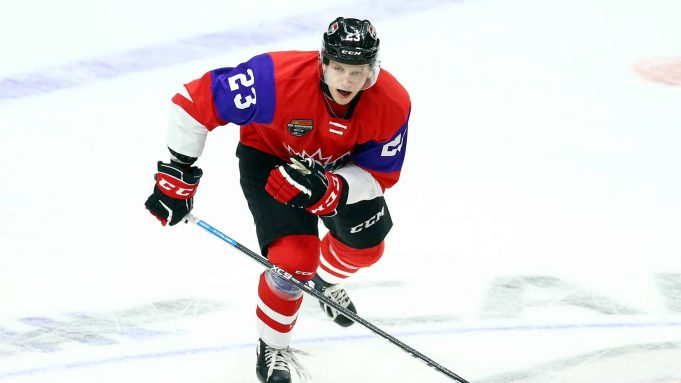 HAMILTON, ON - JANUARY 16: Marco Rossi #23 of Team Red skates during the 2020 CHL/NHL Top Prospects Game against Team White at FirstOntario Centre on January 16, 2020 in Hamilton, Canada.