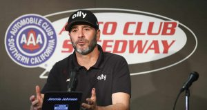 FONTANA, CALIFORNIA - FEBRUARY 28: Jimmie Johnson, driver of the #48 Ally Chevrolet, speaks ahead of practice at Auto Club Speedway on February 28, 2020 in Fontana, California.