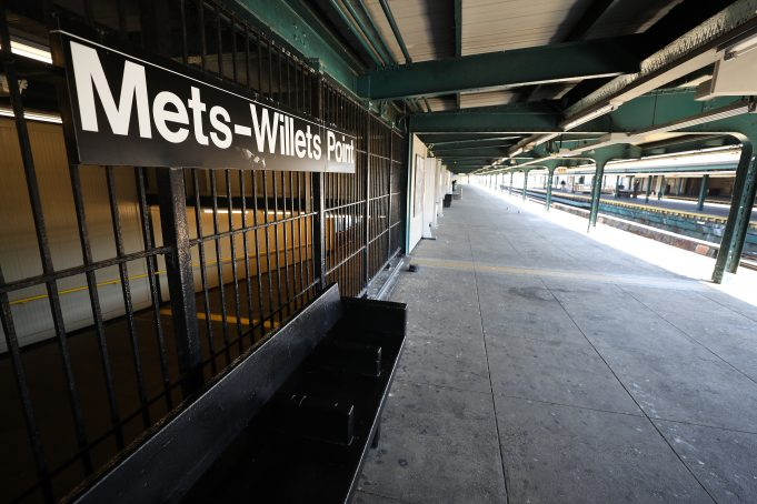 FLUSHING, NEW YORK - MARCH 26: The Subway stop platform to Citi Field remains empty on March 26, 2020. Citi Field is closed on the scheduled date for Opening Day March 26, 2020 in Flushing, New York. Major League Baseball has postponed the start of its season due to the coronavirus (COVID-19) outbreak and MLB commissioner Rob Manfred recently said the league is