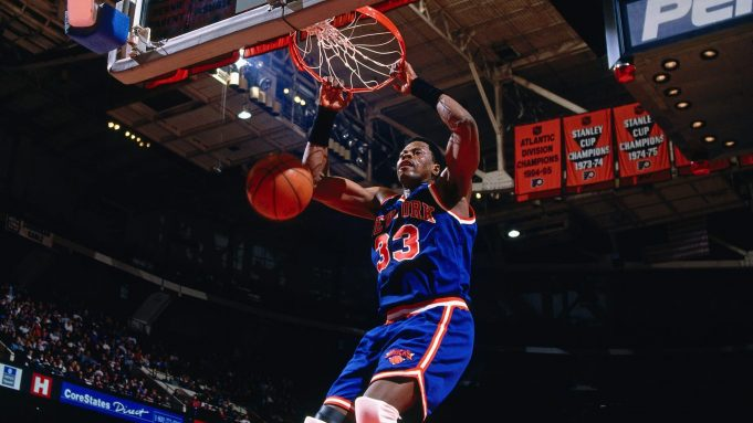 PHILADELPHIA, PA - 1996: Patrick Ewing #33 of the New York Knicks dunks against the Philadelphia 76ers during a game played circa 1996 at the Spectrum in Philadelphia, Pennsylvania. NOTE TO USER: User expressly acknowledges and agrees that, by downloading and or using this photograph, User is consenting to the terms and conditions of the Getty Images License Agreement. Mandatory Copyright Notice: Copyright 1996 NBAE