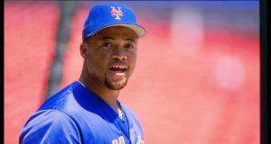 26 Jun 1996: Third baseman Butch Huskey of the New York Mets stands on the field during a game against the Colorado Rockies at Shea Stadium in Flushing, New York. The Mets won the game 9-5.